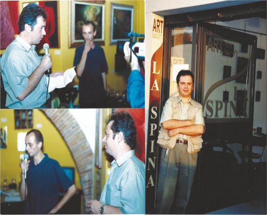 Claudiu Victor Gheorghiu: Colaj foto Pisa-expozitie personală PISA, Italia, Iunie 2003, vernisaj, Galeria La Spina si directorul artistic Federico Bellini, alături de artistul Claudiu Victor Gheorghiu, foto Tele 50 Pisa.