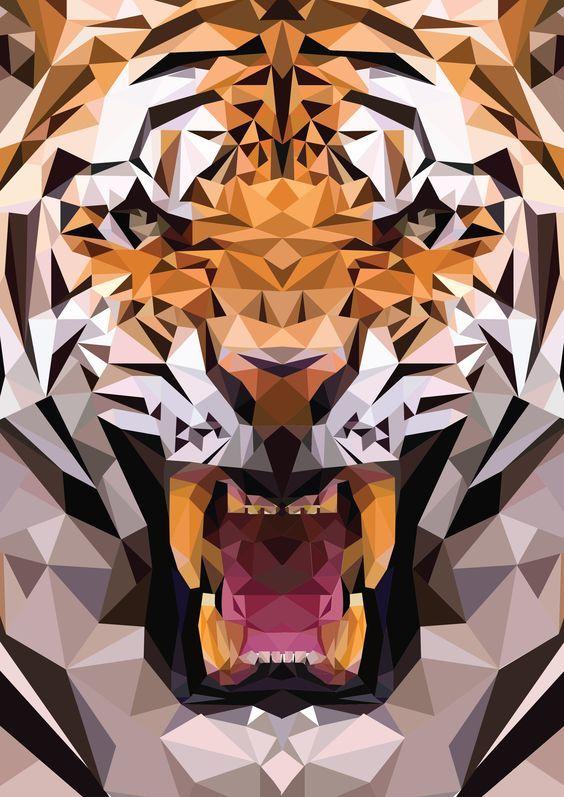 幾何圖形組成的老虎。 AI