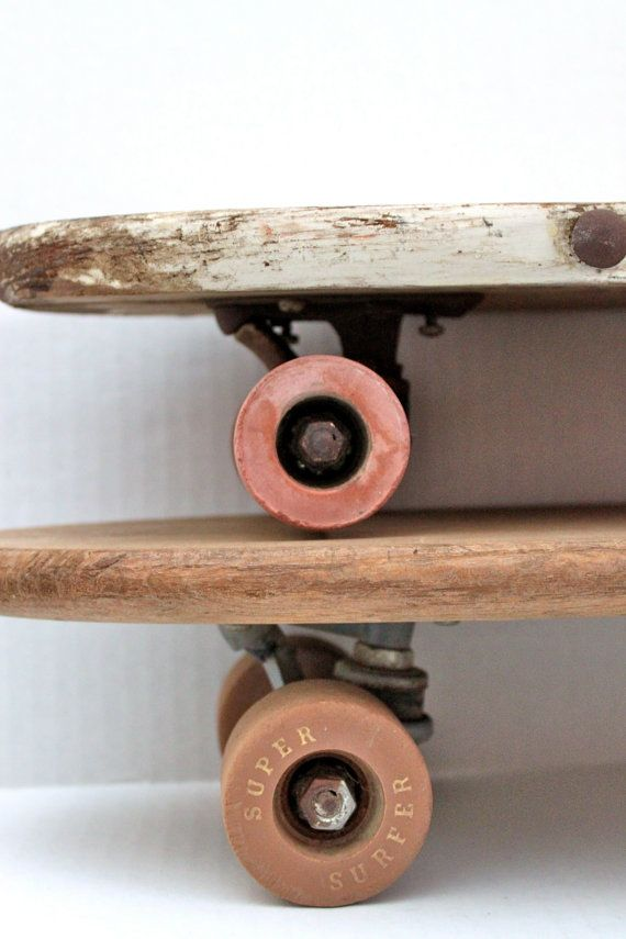 Pair Of Vintage 60s Wood Skateboards Clay By RedTuTuRetro 10000