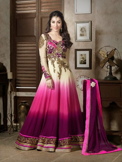 USD 111.44 Shraddha Kapoor Off White and Pink Embroidered Long Anarkali Suit 31770