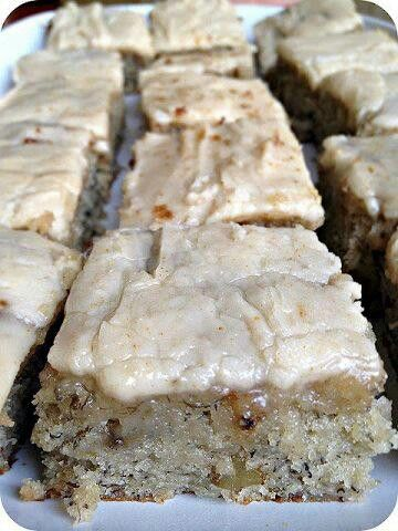 Banana Bread Brownies  1 1/2 cups sugar  1 cup buttermilk (or sour cream)  1/2 cup butter, softened  2 eggs  1 3/4 cups (3 or 4) ripe bananas, mashed  2 tsp vanilla  2 cups flour  1 tsp baking soda  3/4 tsp salt  1/2 cup chopped walnuts (optional)  *  Brown Butter Frosting  1/2 cup butter  4 cups powdered sugar  1 1/2 tsp vanilla  3 Tbsp milk