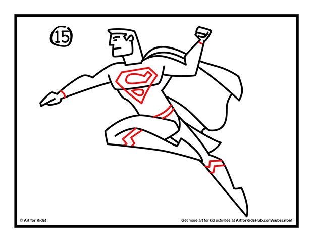 How to draw Superman step 15