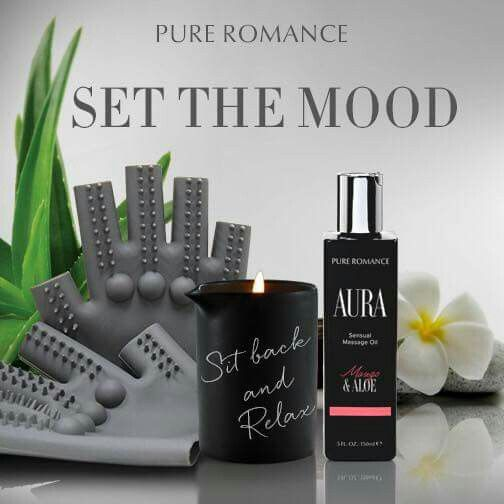 Set the mood with our wonderful line of massage products. Burning Desire Massage Candle, Aura Massage Oil & In Good Hands massage gloves, and so much more.