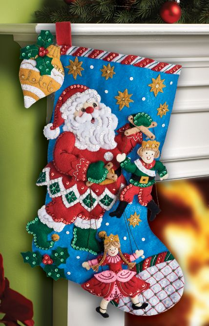 """Just released, felt stocking kit entitled """"Puppet Show"""". Released July 2012 and available at MerryStockings.com (20.99)."""