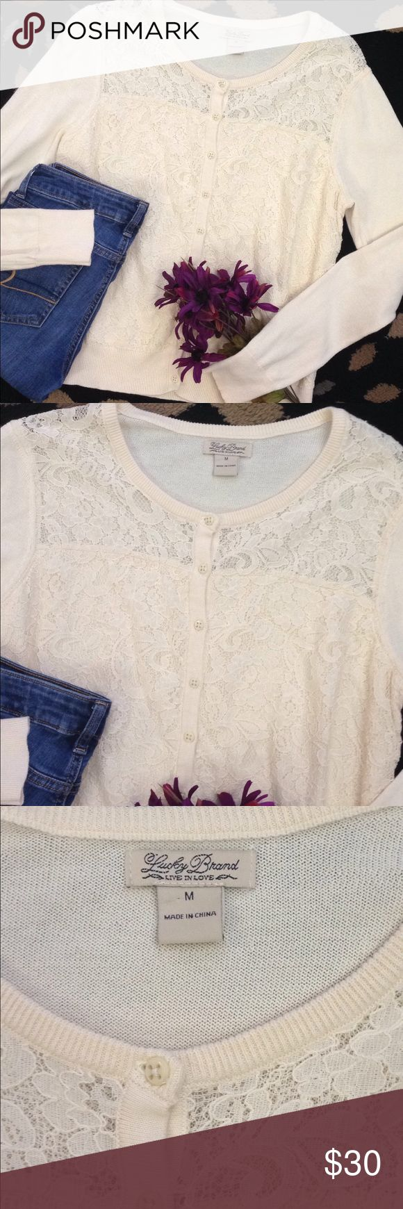 Lucky Brand lace button up cardigan This cardigan is gorgeous and in excellent gently used condition. Buttons up and the entire front is lace. Shoulder part is the only area you can minimally see through the lace. Size medium Lucky Brand Sweaters Cardigans
