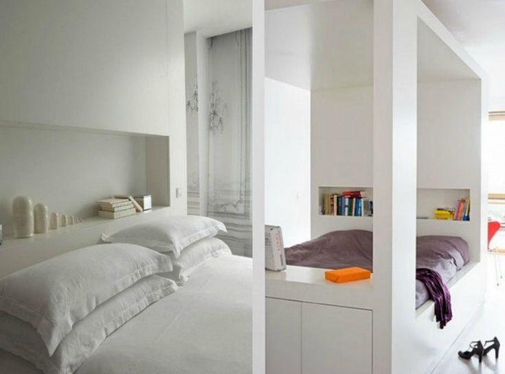 Designhaus mit weißer Fassade und Flachdach Architektur Pinterest - bett regal stauraum ablage