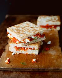 Melty Feta and Roasted Red Pepper Sandwiches   Tia Keenan's unconventional, Greek-accented sandwich has just four ingredients, among them feta cheese and dill.