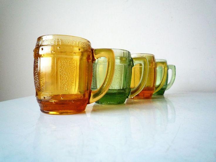 Vintage Yellow and Green Shot Glasses Set of 4, Midcentury Shot Glasses #fathersdaygift #vintagebar #shotglass #midcentury #mothersdaygift