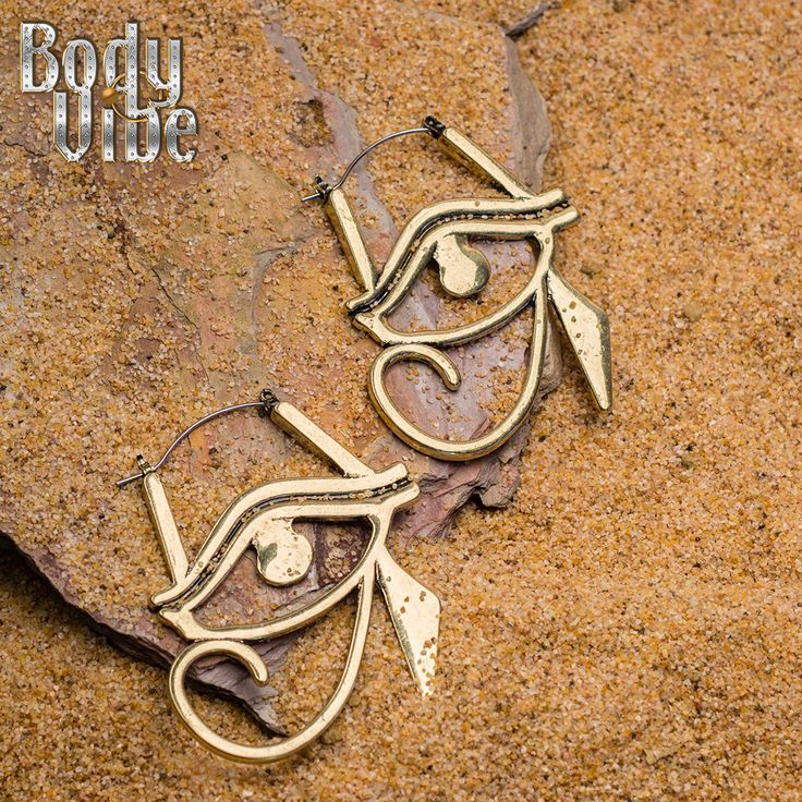 Weild the power of a #goddess. Eye of Horus hoops for #plugs or #pierced ears.