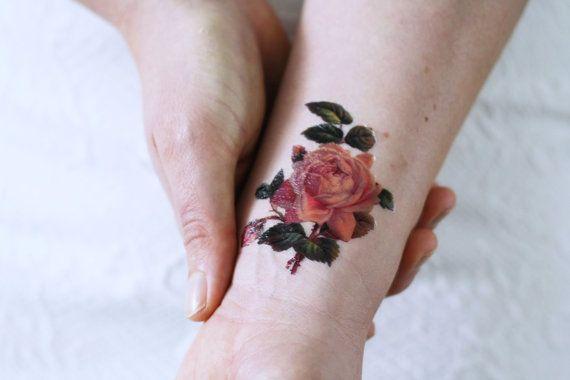 Small rose temporary tattoo / small temporary tattoo by Tattoorary