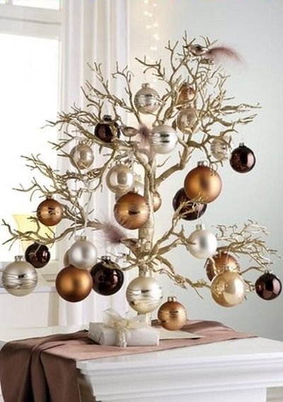 This is a fun alternative to the standard evergreen for a holiday party or to the side of a buffet table at Christmas dinner. #Christmas #ornaments #christmastrees