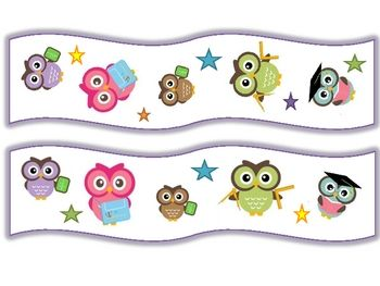 A cute owl themed trimmer for the classroom, created to be correctly faced no matter what position they are being used on the bulletin board....