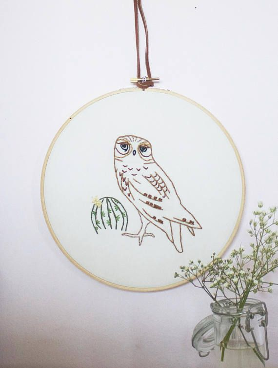 Burrowing Owl Embroidery Hoop Art / Southwestern Wall Decor