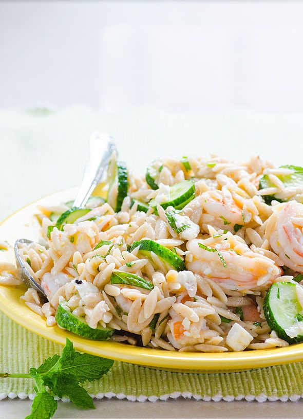 Feta, Herb and Shrimp Orzo Salad -- Cold healthy salad for hot summer days.