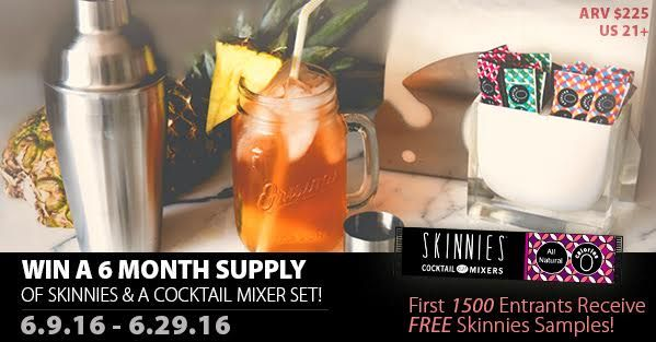 Love a cocktail but not the calories? Enter to win 6 months of Skinnies & A cocktail mixer here! Free samples to 1,500 people too!