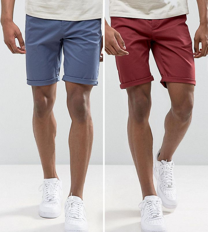 Asos TALL 2 Pack Slim Chino Shorts In Burgundy & Indigo SAVE