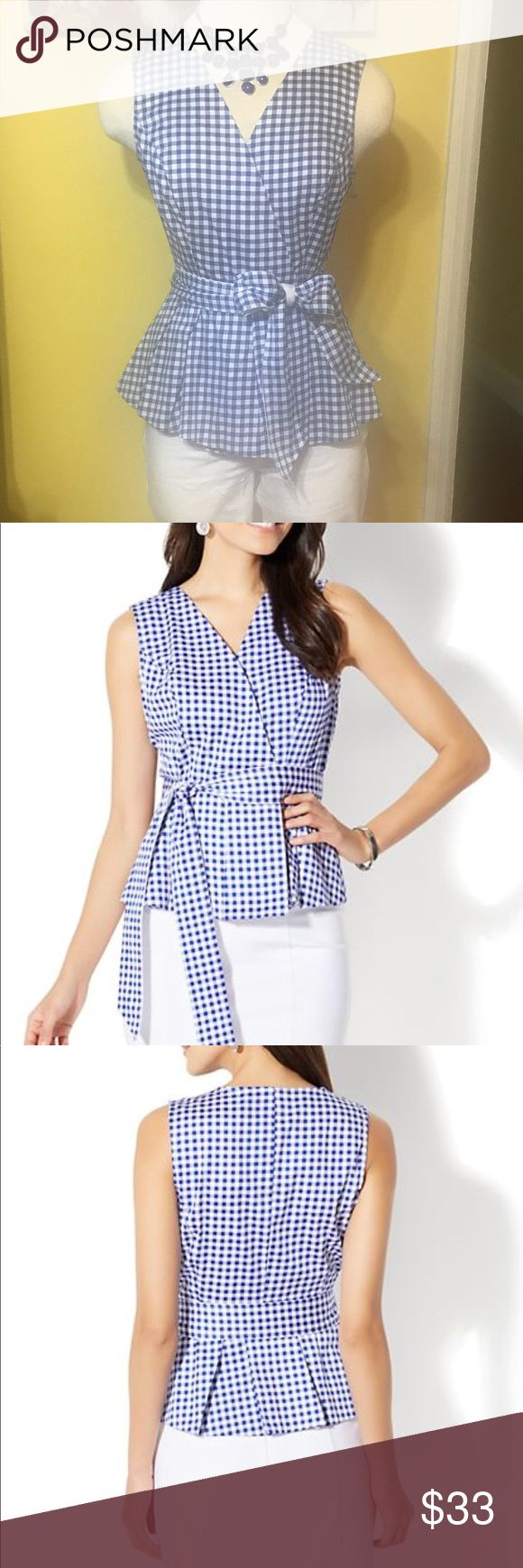 """7th Ave Design Studio sleeveless peplum shirt NWT 7th Ave Design Studio by New York &Company, Blue & White Gingham sleeveless peplum wrap shirt finished with a waist defining self tie belt. Features: wrap front with hidden snap closure, princess seams on front and back, peplum waist with pleating below and self tie belt at waist. A sophisticated and chic shirt that can be worn dressy or casual. New With Tag with extra snaps included  Size is XS 26"""" Waist, 32-34"""" bust, 22.5""""L hits at hip New…"""