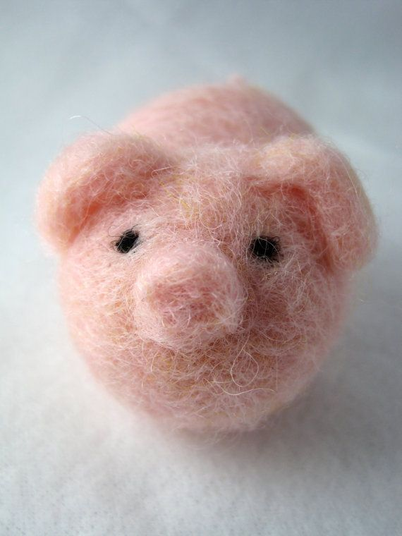 Pink Pig - Needle Felted Wool Animal. Cute.
