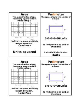 Shows the difference and formulas for area and perimeter. Great for students who confuse the two. ESOL and Special needs.