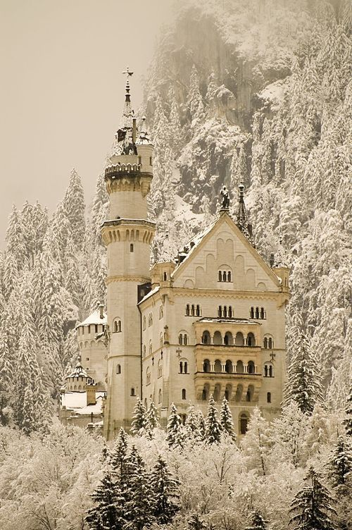Blizzard in Neuscwanstein Castle, Germany