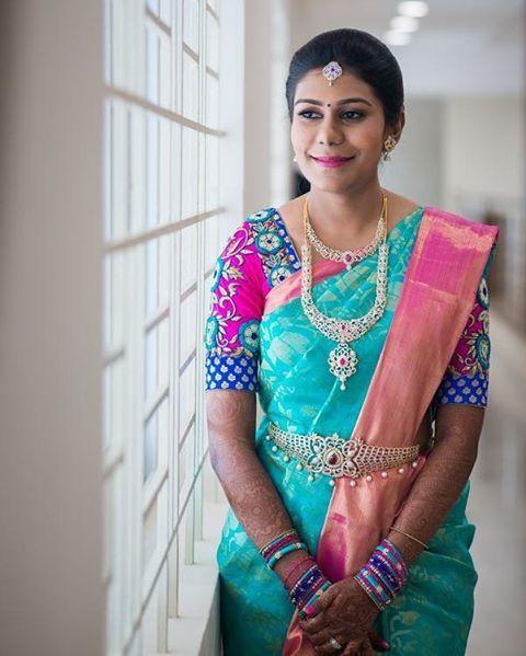 South Indian bride. Diamond Indian bridal jewelry.Temple jewelry. Jhumkis. Teal blue silk kanchipuram sari.Braid with fresh jasmine flowers. Tamil bride. Telugu bride. Kannada bride. Hindu bride. Malayalee bride.Kerala bride.South Indian wedding.