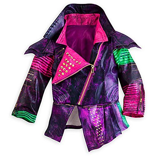 Disney Store Descendants Mal Costume for Girls ~Jacket, Leggings, and Gloves)