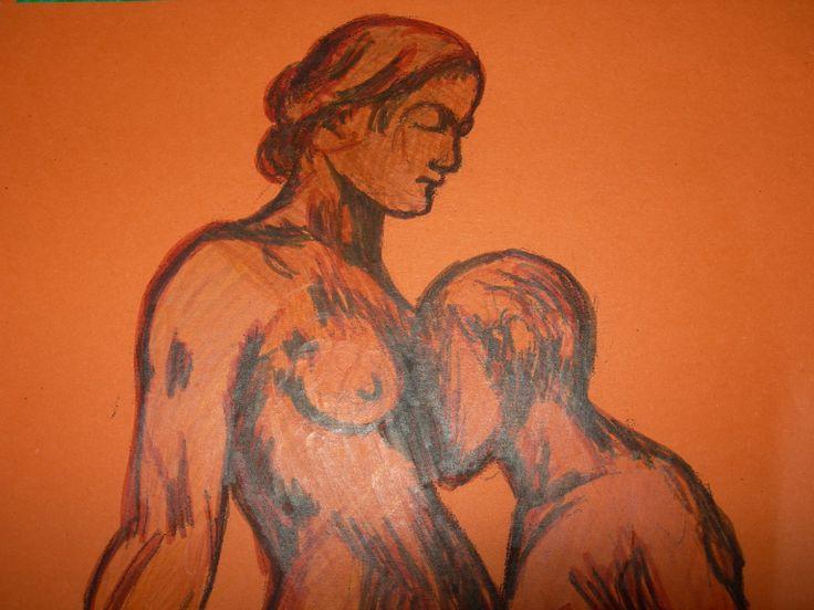 """""""In adorazione di te"""" di Cristina Contilli, disegno su cartoncino arancione, dal progetto """"I volti di Camille Claudel"""", particolare."""