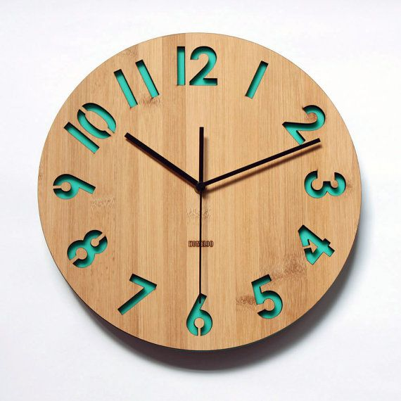Retro Green Bamboo Wall Clock  Modern Numeric by HOMELOO on Etsy, $49.99