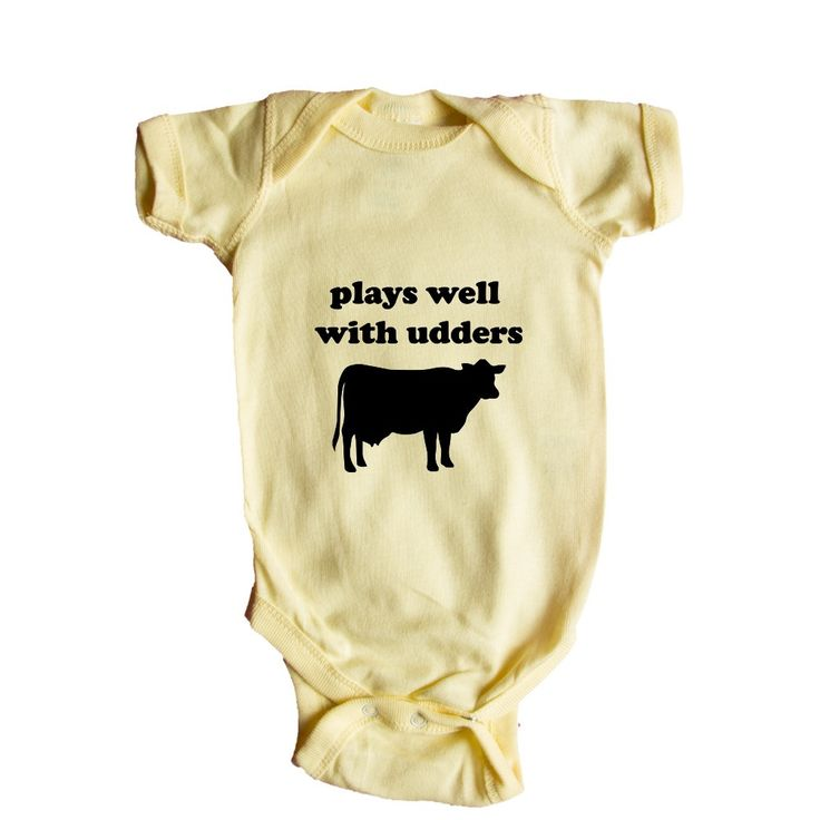 Plays Well With Udders Cow Cows Farm Farms Farmer Animal Animals Mammals Mammal Pun Puns Play On Words Funny SGAL9 Baby Onesie / Tee