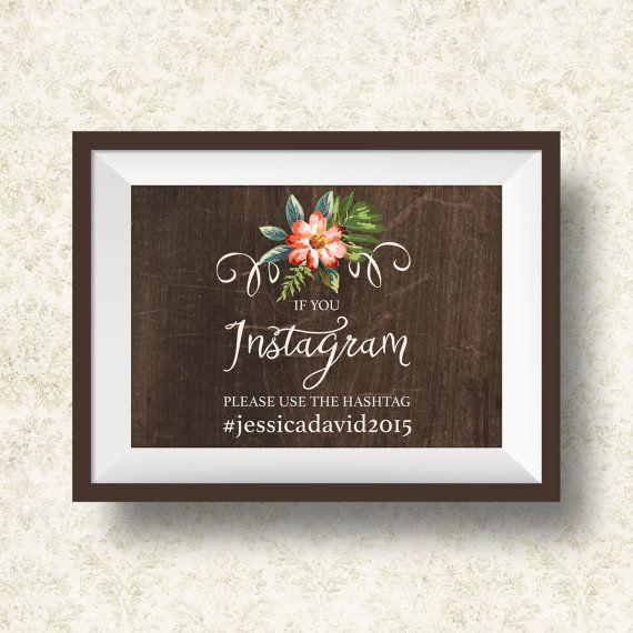 Instagram Sign Printable Wedding Hashtag Rustic