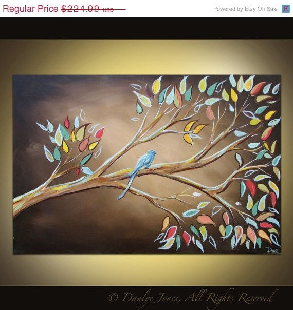 Bird on a Branch painting on canvas huge art 36 x 24. $191.24, via Etsy.