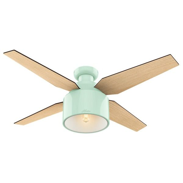 Hunter Fan Cranbrook Collection Mint with 4 Blonde Oak/Mid-century Walnut Reversible Blades 52-inch Ceiling Fan