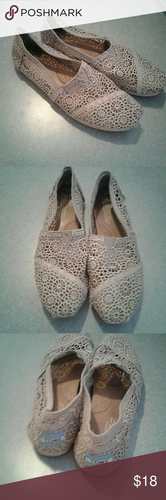 Grey floral toms flats Womens size 7 gray floral design toms slip on flats. Do show wear, with light staining. Shoes are exactly as pictured Toms Shoes Flats & Loafers