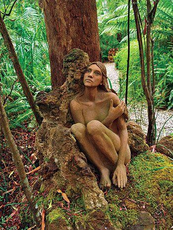 Hand-crafted wooden figures at Bruno's Art & Sculpture Garden . Marysville Victoria Australia. Sadly these were destroyed in terrible bushfires