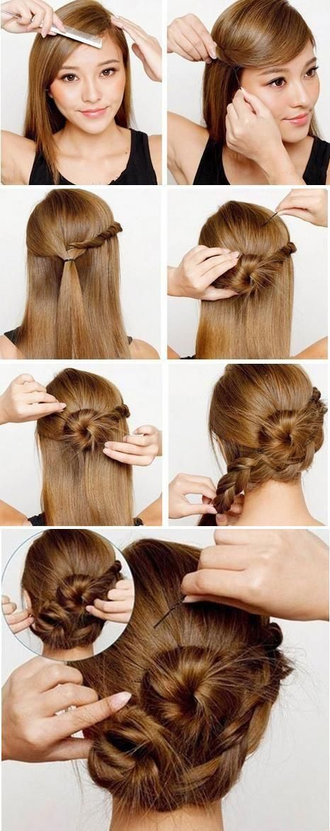 cute braided bun hairstyle for long hair