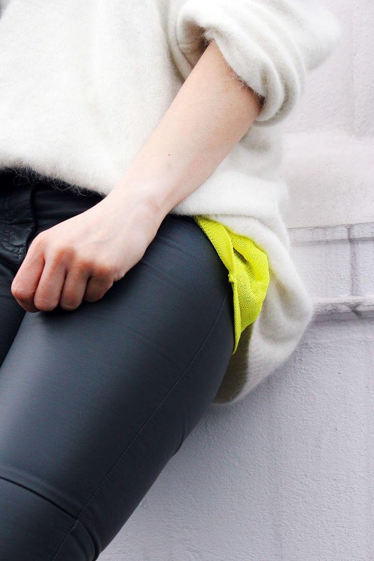 leather leggings   white knit  neon yellow top= HOT @H A L E Y |  V A N  |  L I E W Weber @Amara Humphry Mills