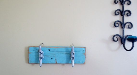 Turquoise Boat Cleat Hooks Nautical Decor Recycled Wood Ocean