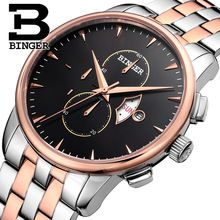 Switzerland Brand Watches MIYOYA Quartz Movement 100m Diver Watch Chronograph 2016 New BINGER Luxury Business Wristwatch B-7003M(China (Mainland))