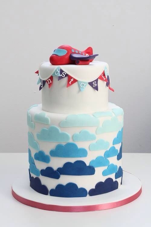 Children's Birthday Cakes - Airplane, clouds, double barrel