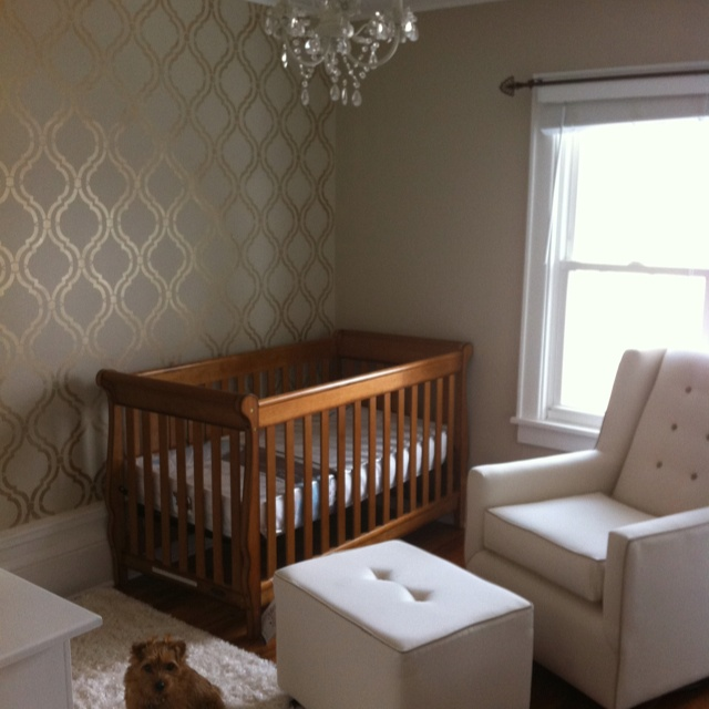 Getting closer! Stenciled wall, crib and baby glider