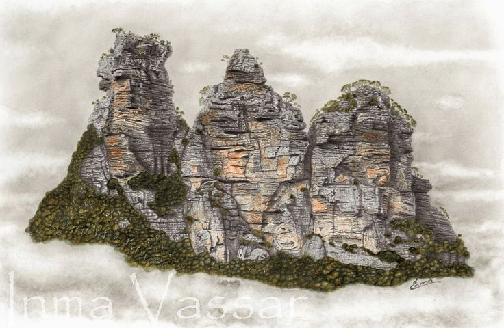 III (The 3 Sisters) Graphite and Watercolour Drawing by Inma Vassar