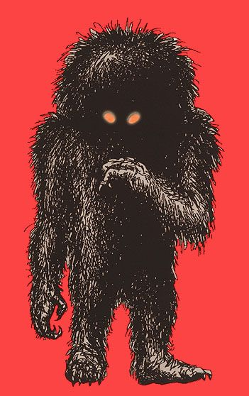 "MOMO(Missouri monster)- American cryptid: a big hairy humanoid. It had a pumpkin shaped head with small eyes covered by all its hair. It eats dogs and was 7ft tall. ""Tracks"" were found by zoologists and it was uncovered as a hoax"