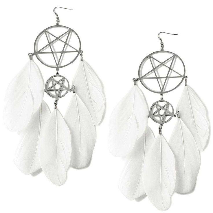 Dreamcatcher Dromenvanger Pentagram oorbellen wit - Occult Gothic