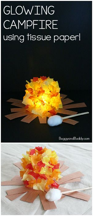 Glowing Campfire Craft for Kids- Perfect summer craft for summer camp, fire safe…