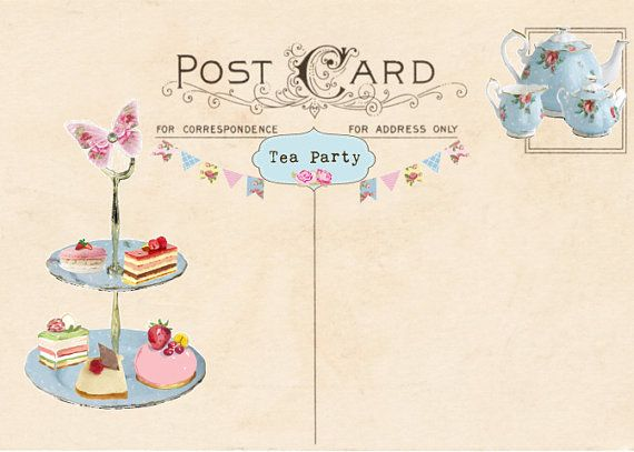 vintage tea party invitation  tea party postcard