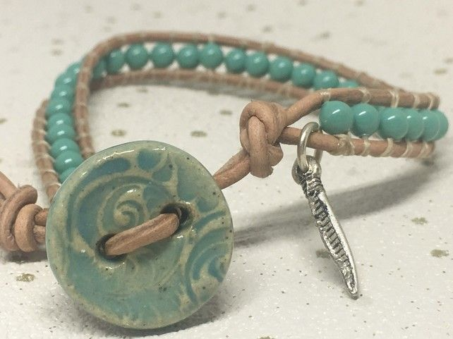 Jade green Swarovski pearl and tan leather bracelet with ceramic button £10.00