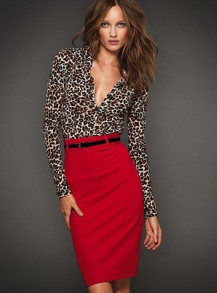 Perfect the smart casual look in a tan leopard long sleeve blouse and a red pencil skirt.  Shop this look for $24:  http://lookastic.com/women/looks/tan-leopard-long-sleeve-blouse-black-leather-belt-red-pencil-skirt/4521  — Tan Leopard Long Sleeve Blouse  — Black Leather Belt  — Red Pencil Skirt