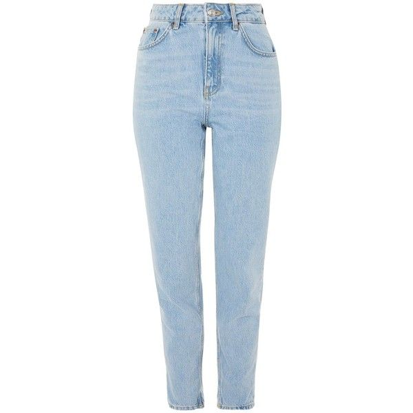 Topshop Moto Bleach Mom Jeans ($55) ❤ liked on Polyvore featuring jeans, retro high waisted jeans, bleached blue jeans, high rise jeans, retro jeans and rolled jeans