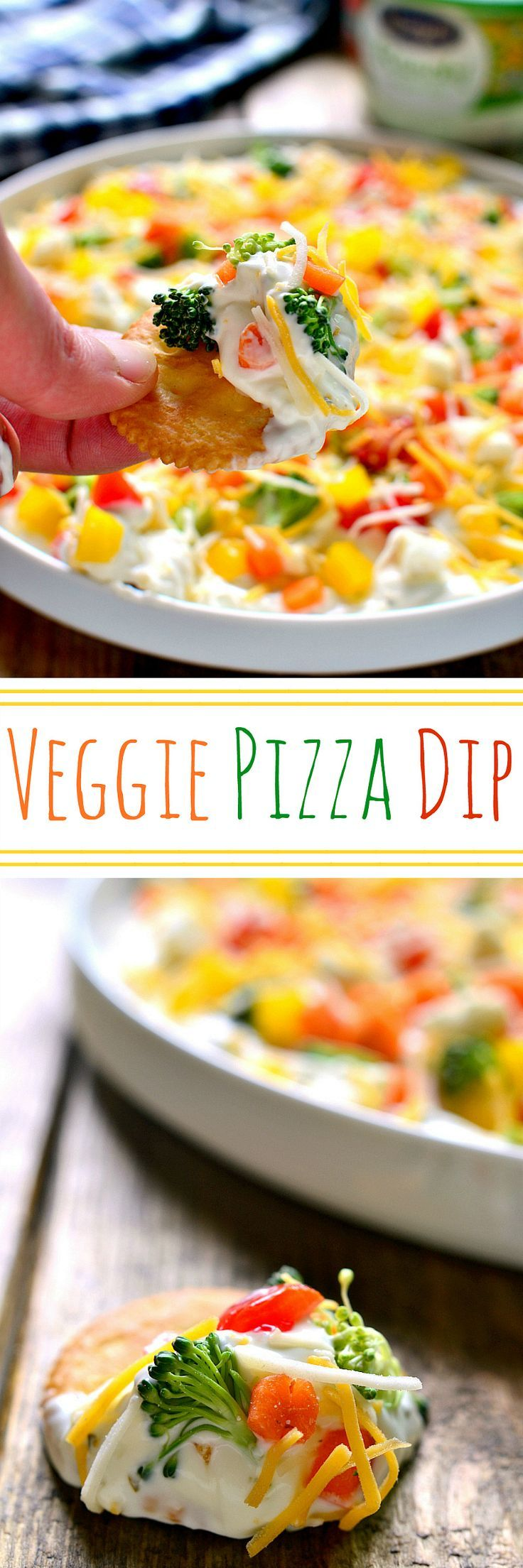 Veggie Pizza Dip has all the flavors of the veggie pizza you love....without the crust! Perfect for dipping vegetables, crackers, pretzels, or bread, this dip is quick, easy, and delicious!: