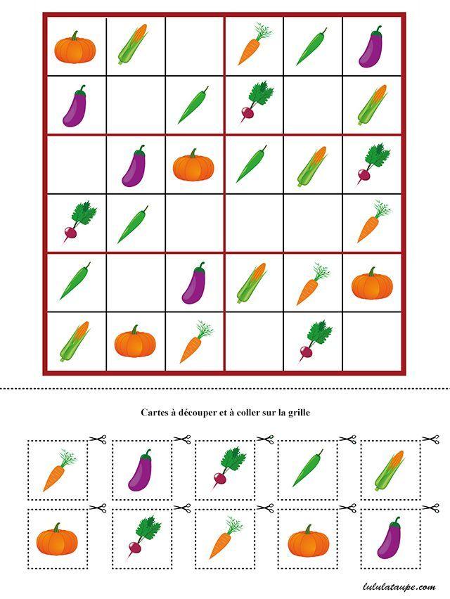 Jeu de sudoku à imprimer gratuitement, maternelle MS et GS | Matematik, Beslenme